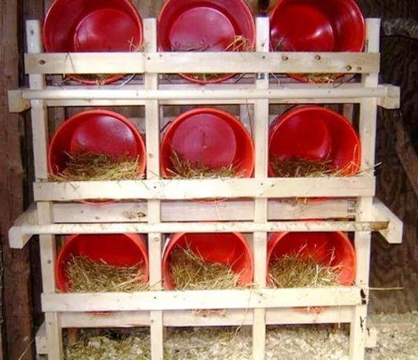 Гнезда для кур-несушек из пластиковых ведер