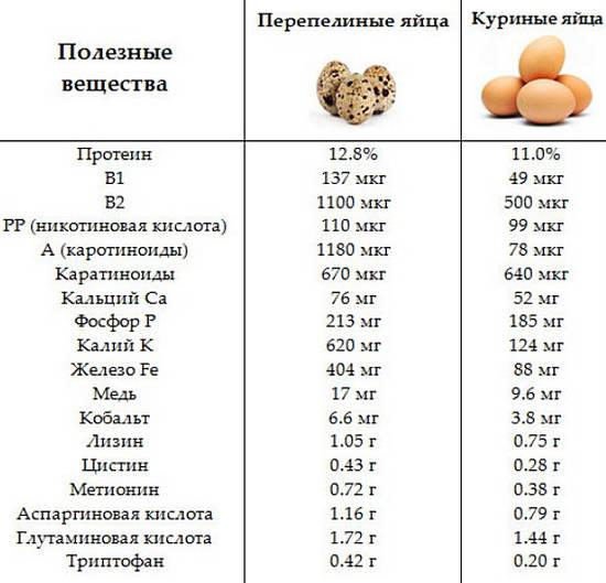Таблица сравнения состава перепелиных и куриных яиц